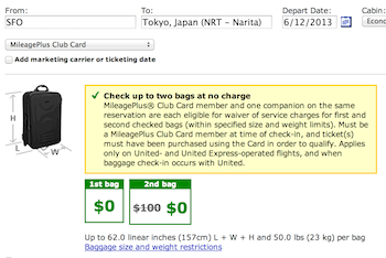 United Club card bag fee savings