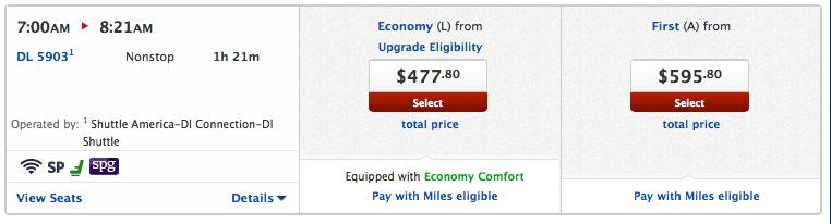 A Delta Shuttle flight with First Class $100 more than Coach