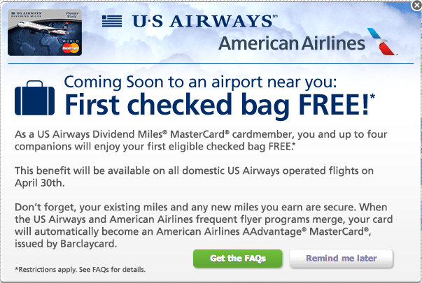 First Checked Bag Free With Us Airways Mastercard
