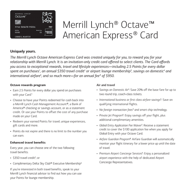 Merrill Lynch Octave A 'black' card with 5% unlimited